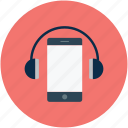 headphones, listening, music, smartphone icon
