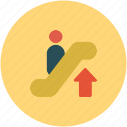 automated, stairs, up sign, up stairs icon