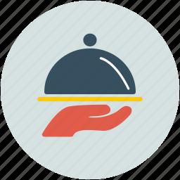 covered platter, food, food serving, platter icon