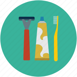 hygiene, shaving razor, tooth brush, toothpaste icon