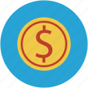 coin, currency, dollar sign, money icon