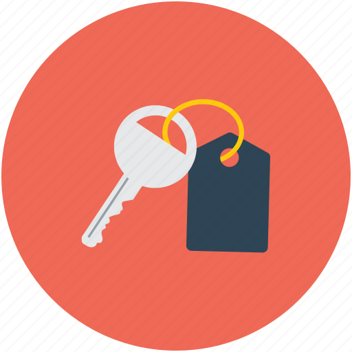 door key, key, key with tag, protection icon