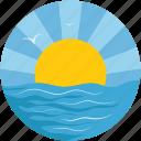sun, sea, season, sunset on sea