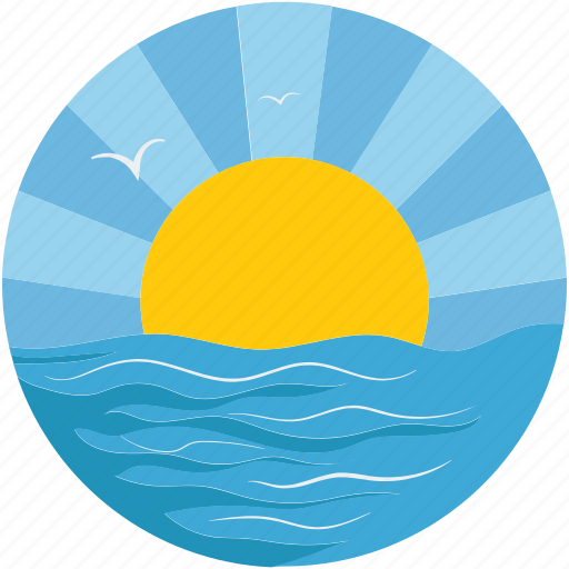 sea, season, sun, sunset on sea icon