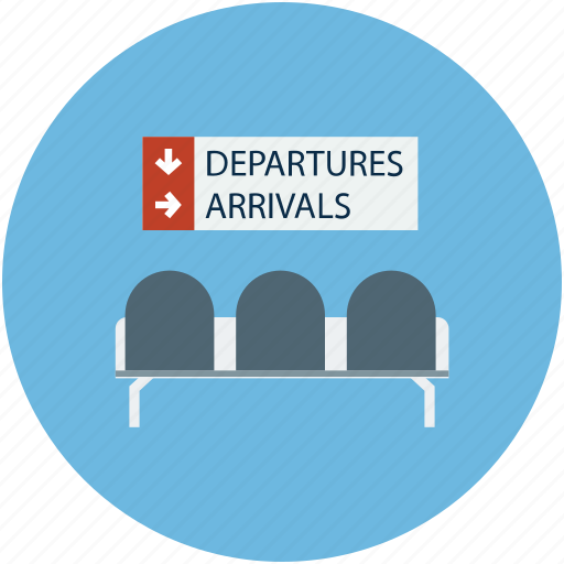 airport, airport waiting room, departure and arrival, waiting room icon