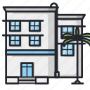accommodation, apartment, building, city, hotel, lodging, traveling icon