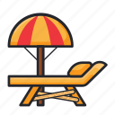 beach, protection, sea, summer, sunbed, umbrella, vacation icon