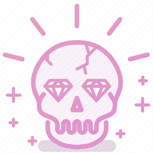 diamond, rich, skull, treasure, wealth icon