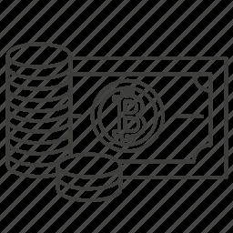 accounting, add, bank, bitcoin, grow, saving, up icon