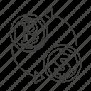 transaction, exchange, money, flow, dollar, recycle, bank