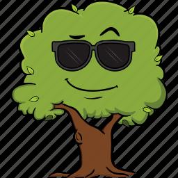 cartoon, emoji, emoticon, face, smiley, tree icon