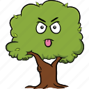 cartoon, emoji, emoticon, face, smiley, tree icon