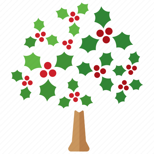 christmas, decorations, decorative, festive, holly, season, tree icon