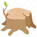 cut, deforestation, logging, seat, stump, tree icon