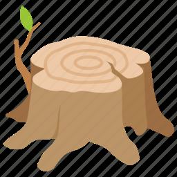 cut, deforestation, logging, seat, stump, tree icon