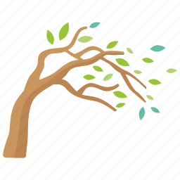 autumn, bent, fall, tree, wind, windy icon
