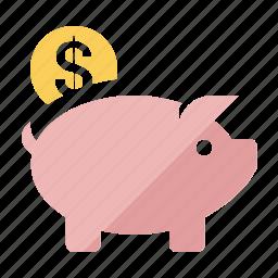 bank, cash, coin, guardar, money, piggy, save icon
