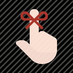 finger, hand, memory, remember, reminder, string icon