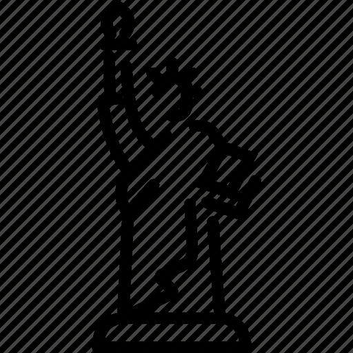 landmark, liberty, statue, travel icon