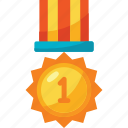 and, award, colors, first, gold, medal, trophy icon
