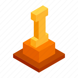 achievement, first, gold, isometric, place, victory, winner icon