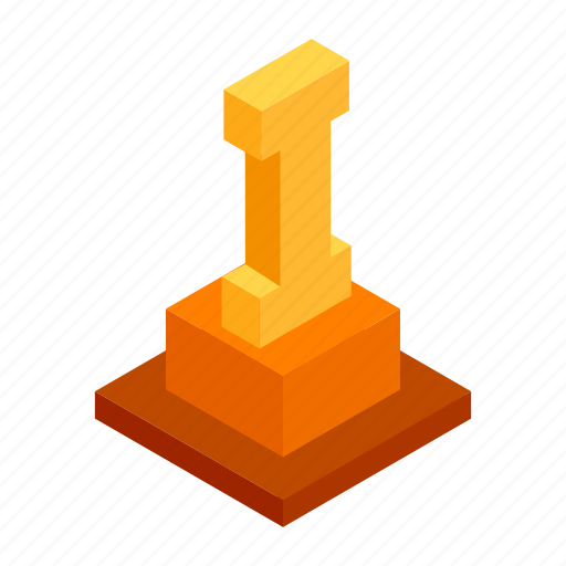Achievement, first, gold, isometric, place, victory, winner icon - Download on Iconfinder