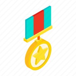 award, isometric, medal, military, order, striped, victory icon