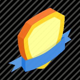 badge, frame, gold, insignia, isometric, ribbon, shield icon