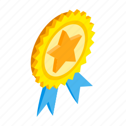 achievement, award, competition, isometric, ribbon, star, winner icon