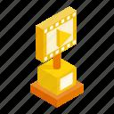 award, film, gold, golden, isometric, media, movie