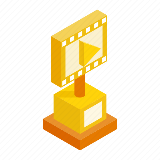 award, film, gold, golden, isometric, media, movie icon