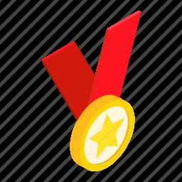 achievement, award, isometric, medal, metal, ribbon, ster icon