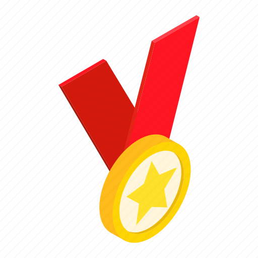 achievement, award, isometric, medal, metal, ribbon, ster icon