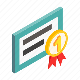 award, best, commerce, computer, isometric, quality, success icon
