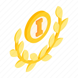achievement, award, first, gold, isometric, victory, winner icon