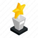 achievement, award, competition, gold, isometric, star, success