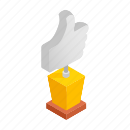 award, best, hand, isometric, quality, success, up icon