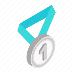 achievement, award, first, isometric, medal, metal, ribbon icon