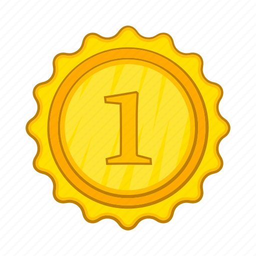 achievement, award, cartoon, champion, gold, medal, winner icon