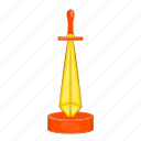 cartoon, golden, handle, medieval, sharp, steel, sword icon