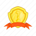 achievement, award, cartoon, label, prize, ribbon, winner icon