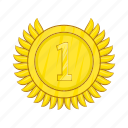 achievement, award, cartoon, champion, gold, medal, winner icon