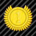 achievement, award, cartoon, champion, gold, medal, winner