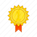 award, cartoon, gold, ribbon, rosette, sign, winner icon