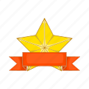 award, cartoon, gold, prize, ribbon, shiny, star icon