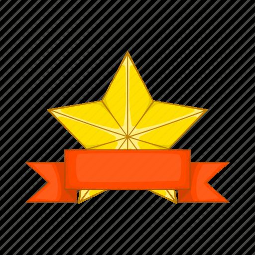 award, cartoon, gold, prize, ribbon, shiny, star icon