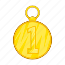 cartoon, first, gold, medal, position, success, winner icon
