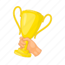 cartoon, competition, cup, gold, hand, trophy, winner icon