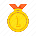 achievement, cartoon, first, gold, medal, place, success icon