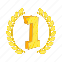 cartoon, first, label, laurel, place, success, trophy icon
